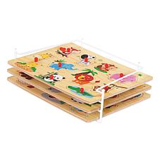 Etna Wooden Peg Puzzle With Rack 3-pack