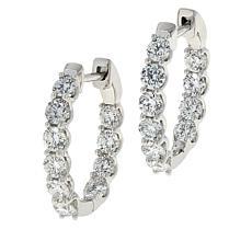Ever Brilliant 14K White Gold 2ctw Lab Grown Diamond Hoop Earrings