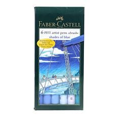 Faber-Castell 6-pack Shades of Blue Pitt Artist Pens