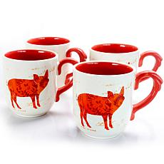 Farm Heart 4 Piece Set of 20 oz Cups in Orange