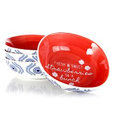 """Farm Heart 4 Piece Soft Square 7.25"""" in Bowls with Medallion Design"""
