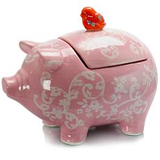 "Farm Heart Pig Shaped 12.5"" x 9.5"" Figural Cookie Jar in Pink"