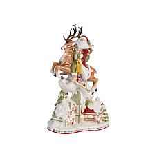 Fitz and Floyd Damask Holiday Up On The Housetop Santa Figurine