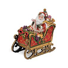 Fitz and Floyd Hand Painted Santa Musical Sleigh