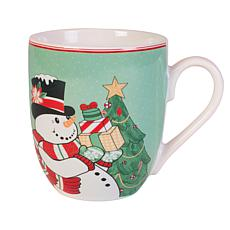 Fitz and Floyd Set of 2 Top Hat Frosty Holiday Mugs