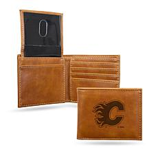 Flames Laser-Engraved Billfold Wallet - Brown
