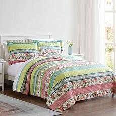 Floral Stripe 3-piece Queen Quilt Set