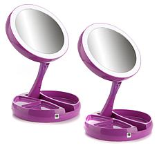 Foldaway Mirror 2-pack with LED Lights, Storage Trays and Pouch