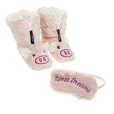 Foot Petals Critter Bootie Slipper and Sleep Mask Set