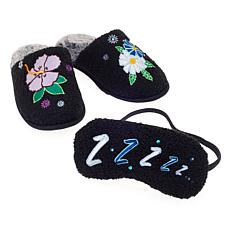 Foot Petals Springtime Slipper and Sleep Mask Set