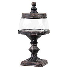 Foreside Home & Garden Glass Jar with Distressed Metal Finial Stand