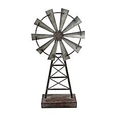 Foreside Home & Garden Small Distressed Metal Windmill Table Décor