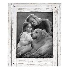 """Foreside Home & Garden White 8x10"""" Distressed Wood Picture Frame"""