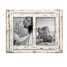 """Foreside Home & Garden White Double 5x7"""" Distressed Wood Picture Frame"""