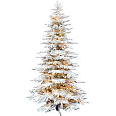Fraser Hill Farm 10' Flocked Pine Christmas Tree w White LED Lighting