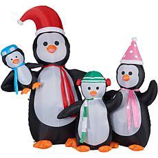 Fraser Hill Farm 10' Penguin Family Inflatable w Lights & Storage Bag