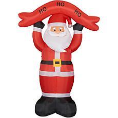 Fraser Hill Farm 10' Santa w HO HO HO Sign Inflatable w Lights & Bag