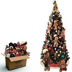 Fraser Hill Farm 152pc Gingerbread Decor Set/7.5' Prelit Canyon Pine