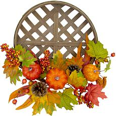 "Fraser Hill Farm 22"" Harvest Wreath w Pumpkins, Pinecones in a Basket"