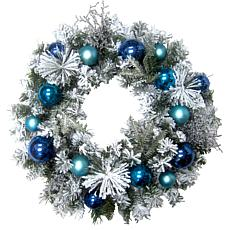 "Fraser Hill Farm 24"" Christmas Flocked Wreath with Blue Ornaments"