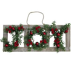 "Fraser Hill Farm 33"" Christmas JOY Door Hanging w Ornaments on Frame"