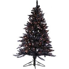 Fraser Hill Farm 7' Festive Tinsel Christmas Tree w/Clear LEDs - Black