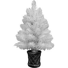 Fraser Hill Farm Tabletop 2' White Fiber Optic Prelit Christmas Tree