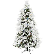 Fraser Hill Farms 7-1/2' Flocked Snowy Pine Tree - Multicolor