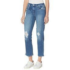 Frayed Straight-Leg High-Rise Ankle Jean