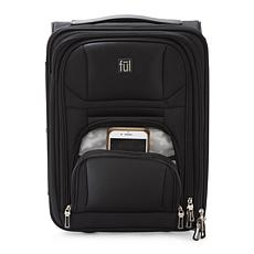 FUL Crosby Carry-On Luggage for Underseat Storage - Faux Leather Black