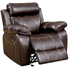 Furniture of America Boston Breathable Leatherette Recliner - Brown