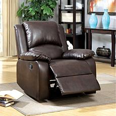 Furniture of America Ellen's Leatherette Recliner - Rustic Dark Brown