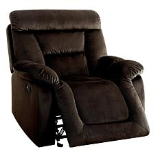 Furniture of America Myra Flannelette Glider Recliner