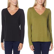 G by Giuliana 2-pack EcoLuxe Jersey Knit Long-Sleeve Tees