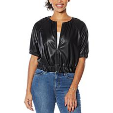 G by Giuliana Black Label Faux Leather Bomber Jacket