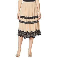 G by Giuliana Black Label Pleated Lace Skirt