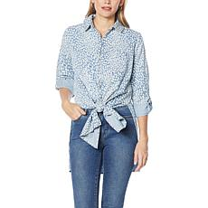 G by Giuliana Buttoned Tie-Front Denim Shirt