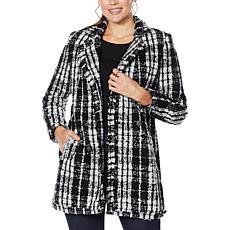 G by Giuliana Long Bouclé Plaid Jacket