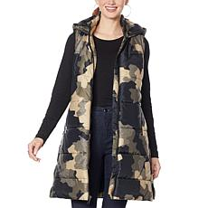 G by Giuliana Printed Puffer Vest with Hood