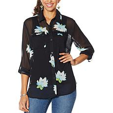 G by Giuliana Printed Ruffle-Pocket Button-Up Shirt