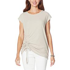G by Giuliana Ruched Detail Ribbed Knit Top