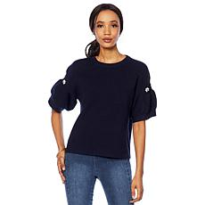 G by Giuliana Short-Sleeve Ruffled Sweater
