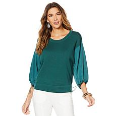G by Giuliana Sweater with Woven Sleeves