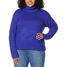 G by Giuliana Textured-Sleeve Turtleneck Sweater
