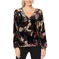 G by Giuliana Velvet Burnout Butterfly-Print Blouse