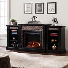 Gallatin Faux Stone Electric Fireplace/Bookcases -Black