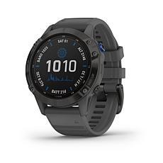 Garmin fenix 6 Pro Solar Multisport GPS Watch-Black w/Slate Gray Band
