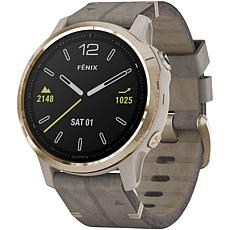 Garmin Fenix 6S Sapphire GPS Watch in Gold Tone w/Shale Gray Leather