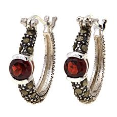 Garnet   and Gray Marcasite  Hoops - January