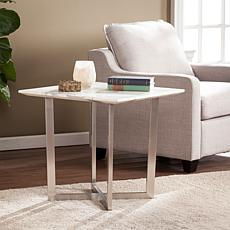 Gastyn Faux Marble End Table - Soft Ivory with Gray
